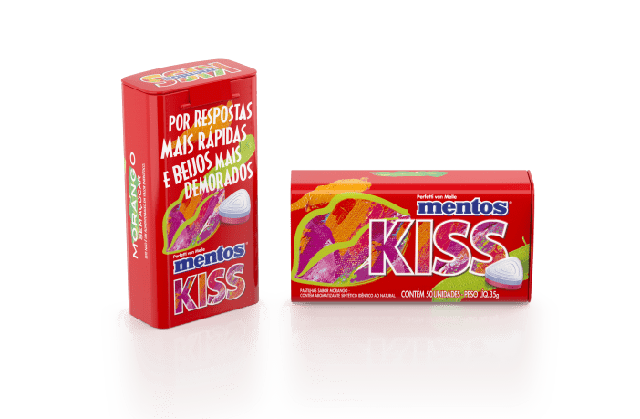 Tin 50pz Mentos Kiss Morango 3 Brazil