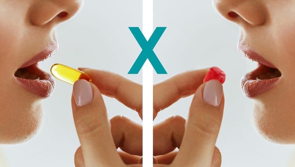 Vitamina em cápsula X em gomas